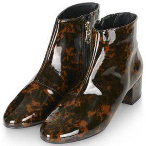 Topshop Tortoiseshell Block Heel Boots Size 8.5